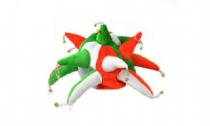 Green, Orange and White Jester Hat.